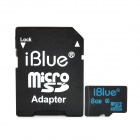iBlue Micro SDHC Memory Flash Card w/ TF to SD Card Adapter - Black (8GB / Class 4)