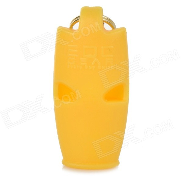 Outdoor Land-and-water Emergency / Suvival Whistle w/ Key Ring - Yellow