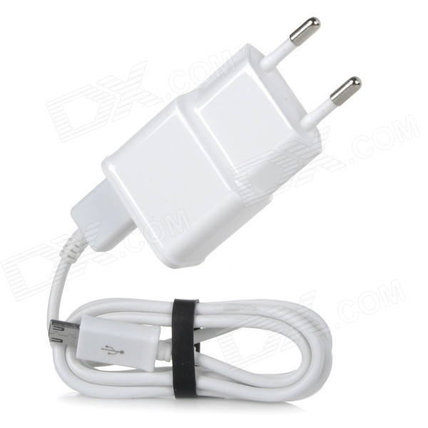 EU Plug Dual USB Port Power adapter + Micro USB Charging Data Cable Set for Samsung - White universal eu plug power adapter micro usb cable for samsung htc 100 240v 100cm