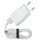 EU Plug Dual USB Port Power adapter + Micro USB Charging Data Cable Set for Samsung - White