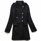 STBB-00575 Women's Trendy Medium Style Wool Coat - Black (Size M)