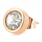 Fashion Rhinestone Inlaid 316L Stainless Steel Ear Stud - Golden