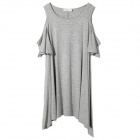 STBB-A0798 Stylish Round Neck Off-the-shoulder Half-sleeved Mini Dress - Grey (Size L)