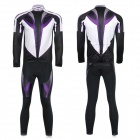 XINTOWN Men's Cycling Long Jersey Top + Padded Pants Set - Black + Purple + Multi-color (M)