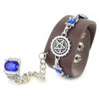 Cool Punk Style PU + Zinc Alloy Bracelet w/ Ring - Brown + Silver + Blue