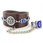 Bracelet en alliage de style cool Punk PU + Zinc w / Ring - Brown + Silver + Bleu