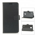 DULISIMAI Flip-Open PC + PU Leather Case w/ Card Slots / Stand for Samsung Galaxy Note 4 - Black