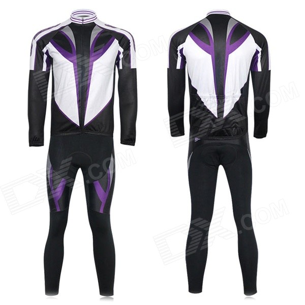 XINTOWN Men's Cycling Long Jersey Top + Padded Pants Set - Black + Purple + Multi-color (XL) arsuxeo ar14 a men s cycling breathable warm long jersey top padded pants set black blue xl