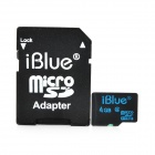 iBlue Micro SDHC Memory Flash Card w/ TF to SD Card Adapter - Black (4GB / Class 4)