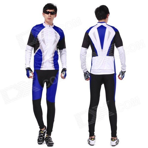 XINTOWN Men's Cycling Long Polyester Jersey Top + Padded Pants Set - Black + Blue + White (L) arsuxeo ar14 a men s cycling breathable warm long jersey top padded pants set black blue xl