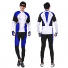 XINTOWN Men's Cycling Long Polyester Jersey Top + Padded Pants Set - Black + Blue + White (L)