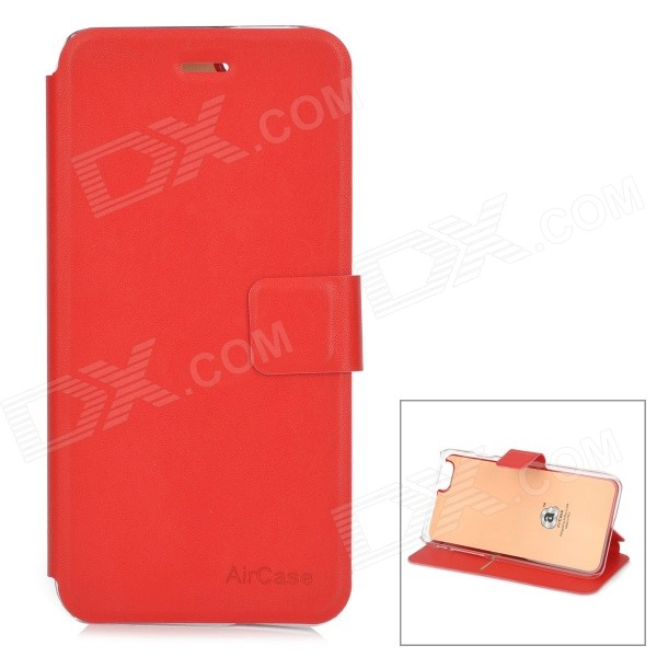 Protective PU + TPU Flip-Open Case w/ Stand / Card Slot for IPHONE 6 4.7 - Red protective flip open pu pc case w stand card slot for iphone 6 plus 5 5 black