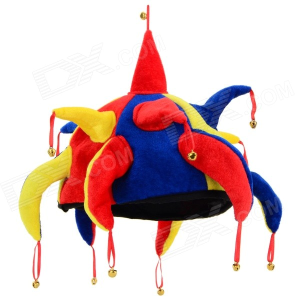 halloween-funny-roll-play-clown-hat-red-yellow-multi-color