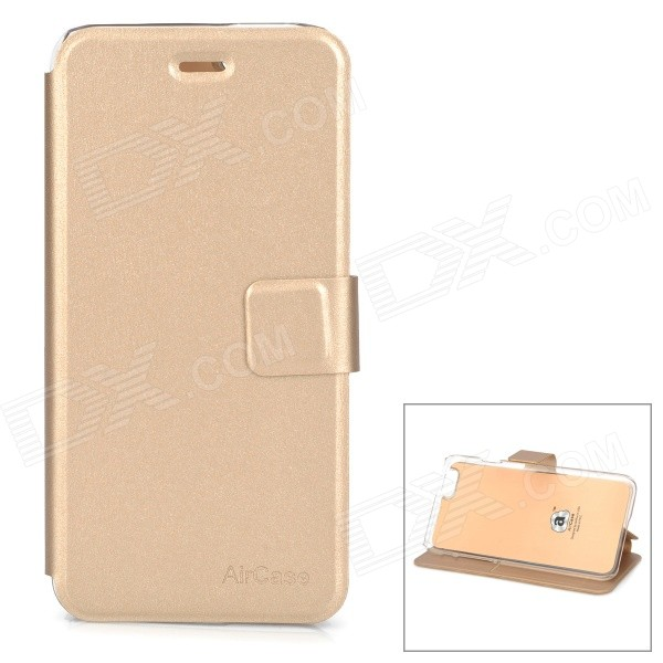 Protective PU + TPU Flip-Open Case w/ Stand / Card Slot for IPHONE 6 4.7 - Champagne Gold hybrid case brushed plastic tpu kickstand card slot shell for iphone 7 rose gold