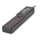 BYL-3010C 10-Port USB 2.0 Hub Socket Strip w/ UK Plug - Black