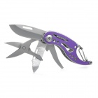 Outdoor Camping Mini Multifunctional Knife / Scissor / Nail File / Bottle Opener Tool - Purple