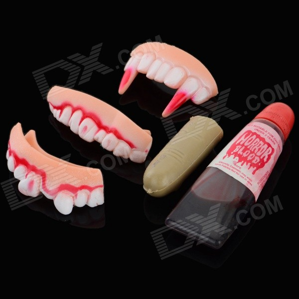 Halloween Practical Joke Teeth + Finger Cover + Fake Blood at $4.45 by DealExtreme