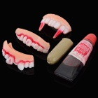 Halloween Practical Joke Teeth + Finger Cover + Fake Blood - White + Red + Multi-Color