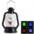 Halloween Funny Smile Face Shaped Hand Lamp - White + Black (3 x AG13)
