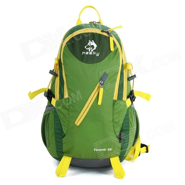 Hasky CY-2057 Outdoor Climbing Nylon Shoulders Bag Backpack w/ Built-in Support - Green + Yellow hasky cy 0518 outdoor portable nylon wash bag army green 5 l