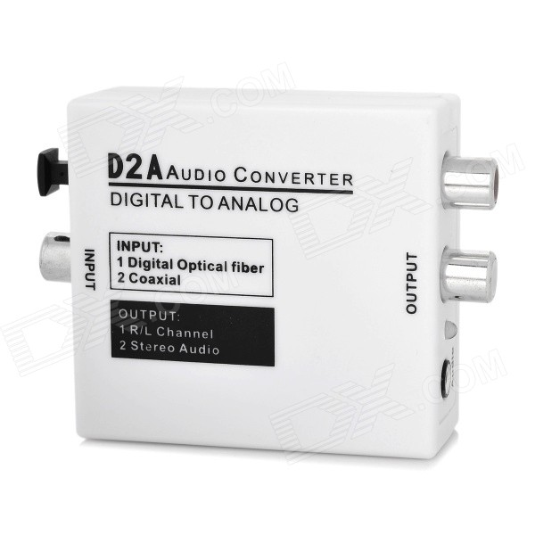 Digital Coaxial / Optical to Analog L/R Audio Converter w/ 3.5mm Jack - White techlink iwires digital optical plug to digital optical plug 2m 526211