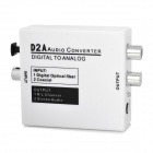 Digital Coaxial / Optical to Analog L/R Audio Converter w/ 3.5mm Jack - White
