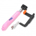 X-05 Bluetooth v3.0 Focus Adjustable Rechargeable Handheld Remote Selfie Rod for Cell Phone - Pink