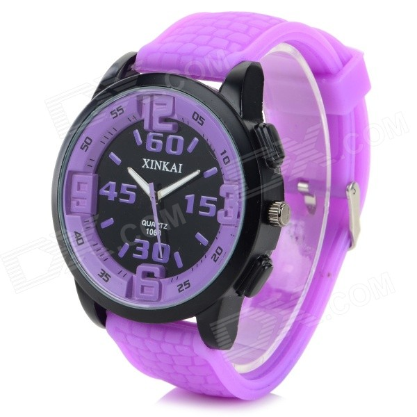 XINKAI 0013 Large Dial Silicone Band Sweet Lovely Quartz Analog Wristwatch - Purple (1 x 377) - DXMens Quartz Watches<br>Color Purple Brand XINKAI Model 0013 Quantity 1 Set Shade Of Color Purple Casing Material Stainless steel Wristband Material Silicone Suitable for Adults Gender Unisex Style Wrist Watch Type Fashion watches Display Analog Movement Quartz Display Format 12 hour format Water Resistant Daily Water Resistant (not for Swimming) Dial Diameter 4.3 cm Dial Thickness 1 cm Wristband Length 24 cm Band Width 2.2 cm Battery 1 x 377 (included) Packing List 1 x Wrist watch<br>