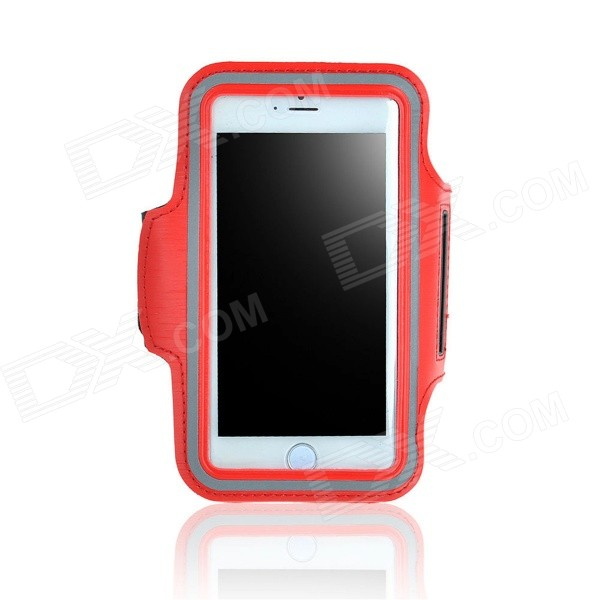 IPB-i602 Outdoor Sports PU Leather + Elastic Fiber Armband for IPHONE 6 PLUS 5.5 - Red + Black