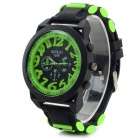 XINKAI Large Dial Silicone Band Sweet Lovely Quartz Digital Wristwatch - Green (1 x 377)