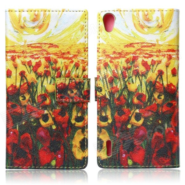 Flowers Pattern Protective Flip Open PU + Silicone Case w/ Card Slots / Holder for Huawei Ascend P7 protective flip open pu case w stand card slots for samsung galaxy s4 active i9295 black