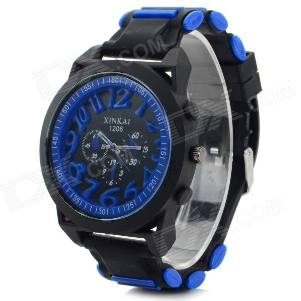 XINKAI 0014 Large Dial Silicone Band Sweet Lovely Quartz Analog Wristwatch - Deep Blue (1 x 377)