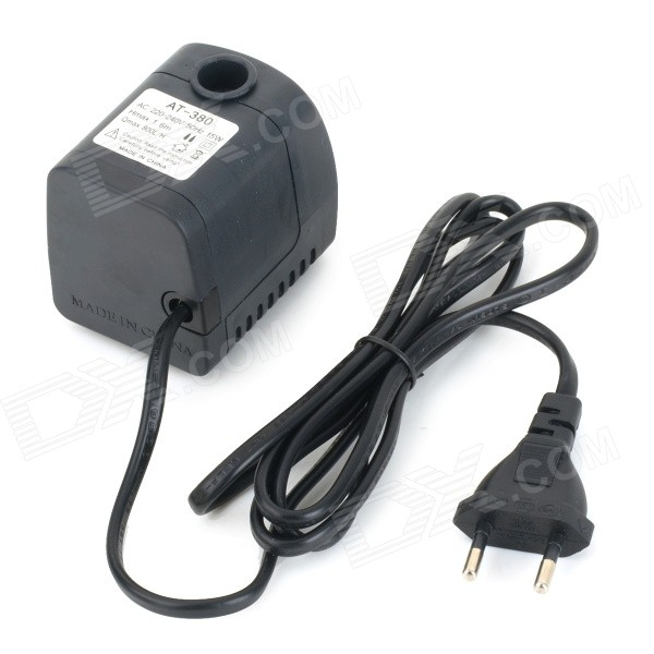 AT-380 15W Submersible Water Pump - Black (220~240V / EU Plug) at 707 7w pet fish tank submersible pump black eu plug 220 240v