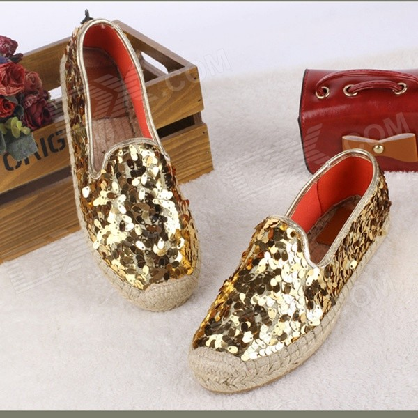 Fashionable Casual Seed Paillette Hemp Rope Fisherman Flat Shoes - Golden (Pair / Size 37)
