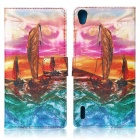 Sailing Boat Pattern Stylish Flip Open PU + Silicone Case w/ Card Slot / Stand for Huawei Ascend P7