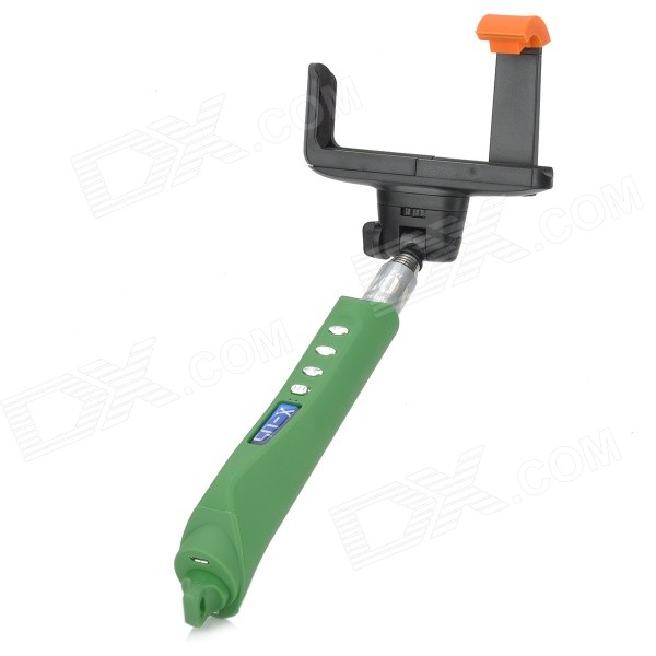 X-05 Bluetooth v3.0 Focus Adjustable Rechargeable Handheld Remote Selfie Rod for Cell Phone - Green universal handheld selfie rod cell phone holder bluetooth remote shutter set white