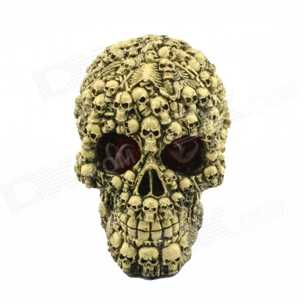 Halloween Scary Glowing Skull Decoration - Grey + Red + Multi-colored life size scary severed head party decoration haunted house halloween props