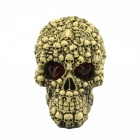 Halloween Scary Glowing Skull Decoration - Grey + Red + Multi-colored
