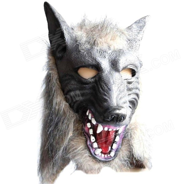Halloween Costume Party Wolf Head Mask - Grey (Free Size)