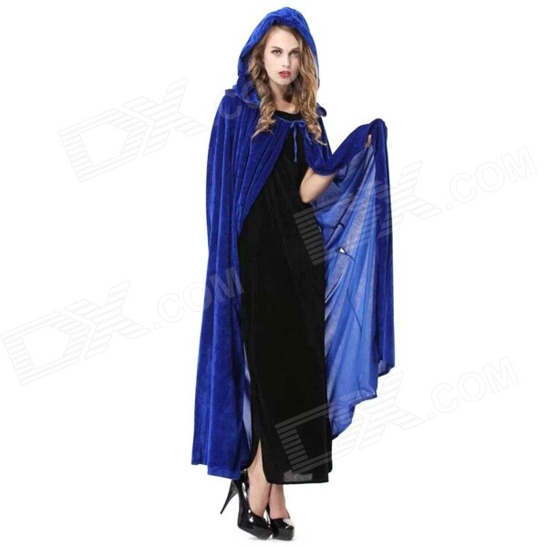 Halloween Masquerade Costume Props Polyester Witch Cloak - Blue (Free Size) life size scary severed head party decoration haunted house halloween props