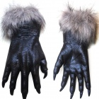 Halloween Costume Fancy Ball Props Horrible Furry Wolf Hands Style Gloves - Black (Pair)