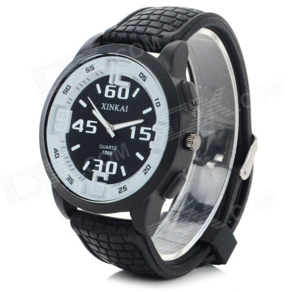 XINKAI 0013 Large Dial Silicone Band Sweet Lovely Quartz Analog Wristwatch - Black (1 x 377)