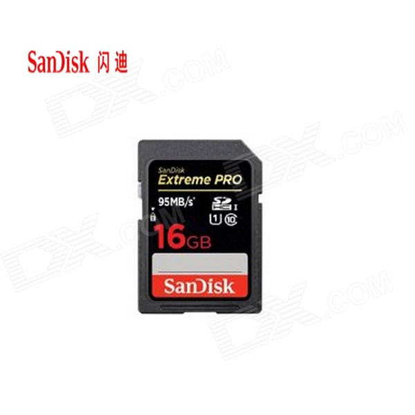 SanDisk Extreme Pro 16GB SDHC UHS-1 Memory Card - Black toshiba sd h016gr7vw060a uhs i sdhc 16gb card black r 95mb s w 60mb s