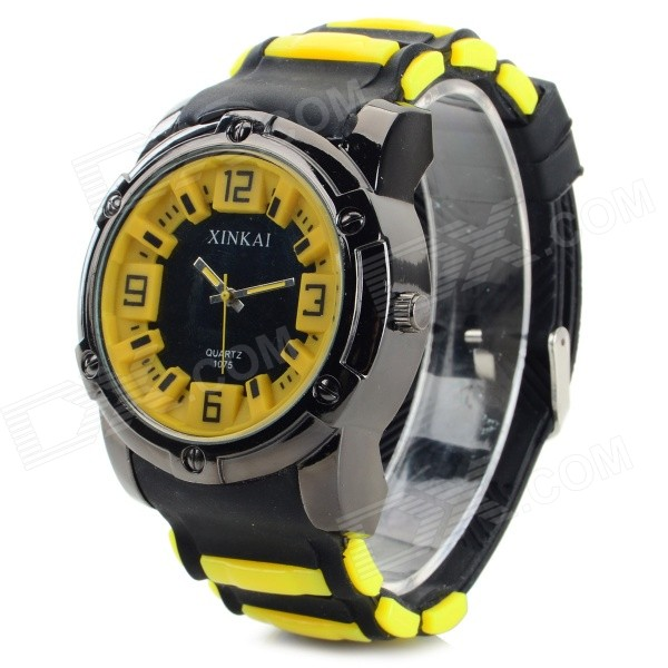 XINKAI 0012 Men's Stylish Silicone Band Analog Quartz Sports Wristwatch - Black + Yellow (1 x 377)