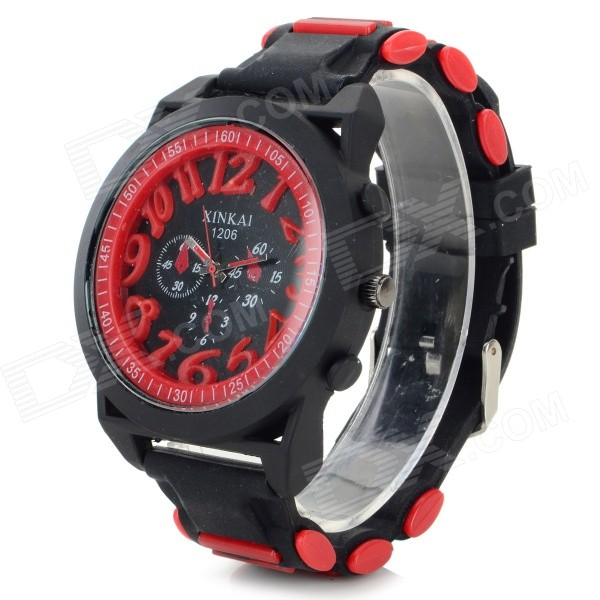 XINKAI 0014 Large Dial Silicone Band Sweet Lovely Quartz Analog Wristwatch - Red (1 x 377)