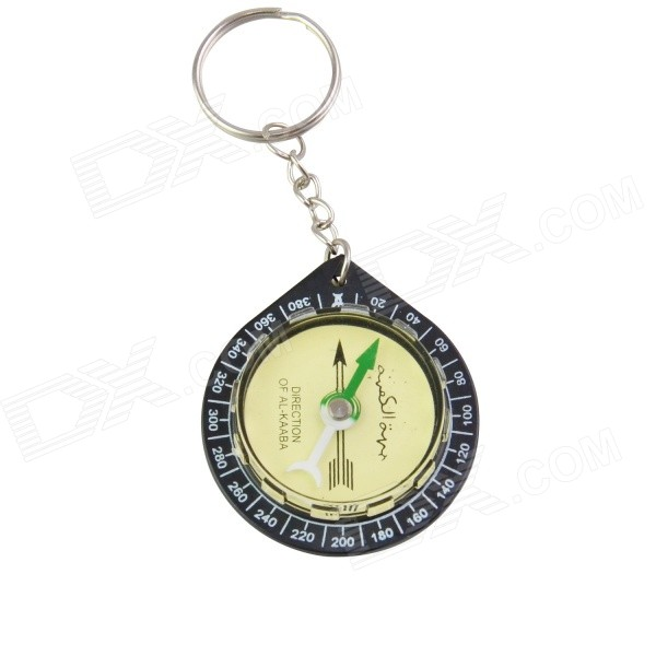Key Ring Mini Compass for KAABA Positioning / QIBLA Finder - Yellow