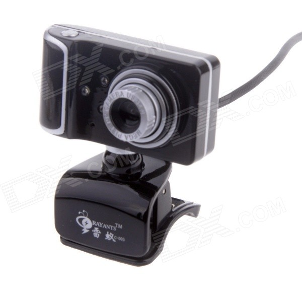 RAYANTS C-003 USB 2.0 Wired 8.0MP HD Webcam w/ Night Vision / Microphone - Black + Silver