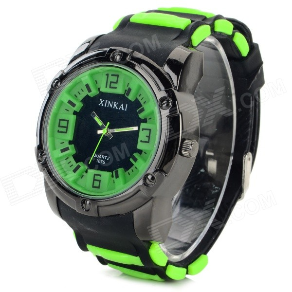 XINKAI 0012 Men's Stylish Silicone Band Analog Quartz Sports Watch - Black + Light Green (1 x 377) elegant steel band quartz analog wrist watch for women black silver 1 x 377