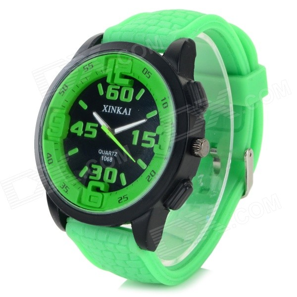 XINKAI 0013 Large Dial Silicone Band Sweet Lovely Quartz Analog Wristwatch - Green (1 x 377)