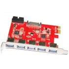 WBTUO LTU3-51P Desktop PCI-E to 5-Port USB 3.0 + 20 PIN Expansion Card - Red